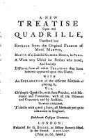 Nouveau traité du veritable quadrille, traduit en anglois sur l'original françois de Mons. Martin, etc. (A New Treatise upon real Quadrille.) Fr. & Eng