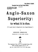 Anglo-Saxon Superiority: to what it is Due