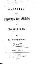 Gesch. des Ursprungs der Stände in Deutschland