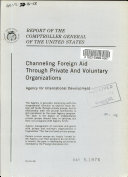 Channeling Foreign Aid Through Private and Voluntary Organizations  Agency for International Development