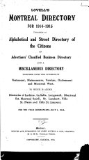Lovell's Montreal Directory, Containing Alphabetical and Street Directories of Greater Montreal