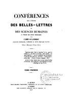 Conférences sur l'étude des Belles-Lettres et des Sciences Humaines à l'usage des Petits Séminaires