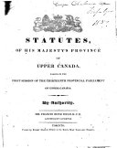Statutes of His Majesty s Province of Upper Canada