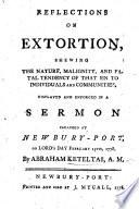 Reflections on Extortion     displayed     in a sermon  on Ezekiel xxii  12   etc