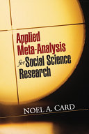 Applied Meta Analysis for Social Science Research