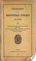Catalogue de la Bibliothèque publique de Genève ...