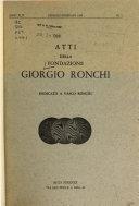 Atti della Fondazione Giorgio Ronchi Book