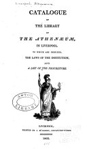 Catalogue of the Library of the Athen  um in Liverpool