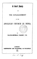 A brief sketch of the establishment of the Anglican Church in India