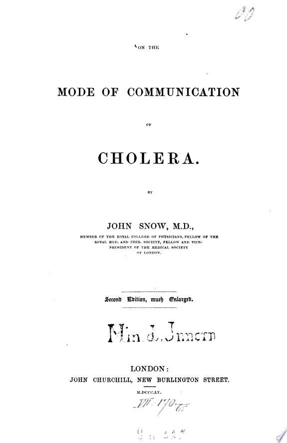 On the Mode of Communication of Cholera