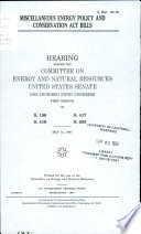 Miscellaneous Energy Policy and Conservation Act Bills Book