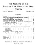 Journal of the English Folk Dance   Song Society Book