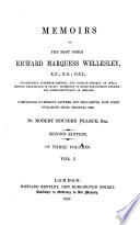Memoirs and Correspondence of the Noble Richard Marquess Wellesley