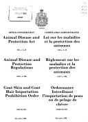 The Animal Contagious Diseases Act and the Regulations Made Thereunder