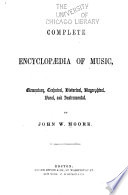 Complete Encyclop  dia of Music Book