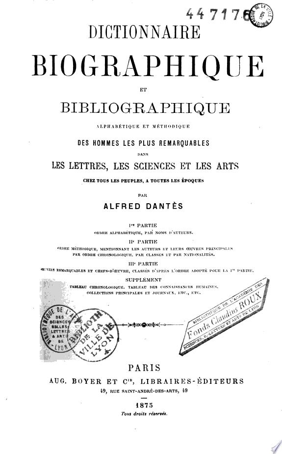 Dictionnaire biographique et biblio