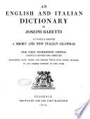 Dizionario Italiano, Ed Inglese Di Giuseppe Baretti