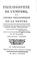 Philosophie de l'univers, ou theorie philosophique de la nature