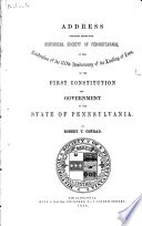 Address Delivered Before the Historical Society of Pennsylvania
