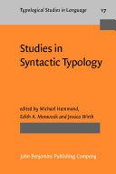 Studies in Syntactic Typology
