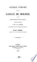 Lexique comparé de la langue de Molière et des écrivains du xviie siècle, suivi d'une lettre à m. A.F. Didot sur quelques points de philologie française