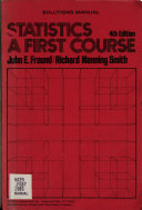 Statistics  a First Course  4th Edition Book
