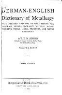 German English Dictionary of Metallurgy