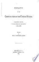 Essays on the Constitution of the United States Book
