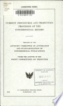 Current Procedures And Production Processes Of The Congressional Record