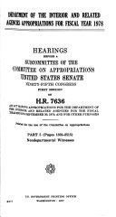 Department of the Interior and Related Agencies Appropriations for Fiscal Year 1978