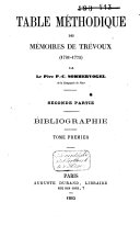 Table méthodique des mémoires de Trévoux (1701-1775)