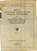 Chart of resolutions adopted at 1950 national conventions of the American Legion, American Veterans of World War II, Disabled American Veterans, Regular Veterans Association [and] Veterans of Foreign Wars..