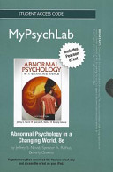 Abnormal Psychology New Mypsychlab With Pearson Etext Student Access Code Card