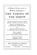 A Modern Prompt book of William Shakespeare s The Taming of the Shrew