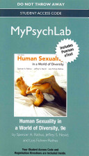 New Mypsychlab with Pearson Etext    Standalone Access Card    For Human Sexuality in a World of Diversity Book