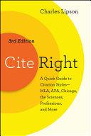 Cite Right  Third Edition