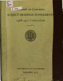 Library of Congress Subject Headings Supplements  1966 1971 Cumulation