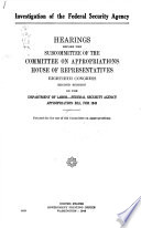 The Supplemental Federal Security Agency Appropriation Bill For 1949