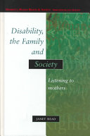 Disability  the Family  and Society Book
