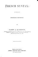 French Syntax: on the Basis of Edouard Mätzner