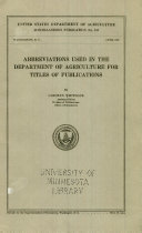 Abbreviations Used in the Department of Agriculture for Titles of Publications