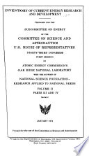 Inventory of Current Energy Research and Development