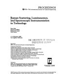Raman Scattering  Luminescence  and Spectroscopic Instrumentation in Technology Book