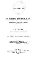 Philosophy of Sir William Hamilton  Bart