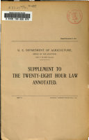 The Twenty eight Hour Law Annotated  Supplement