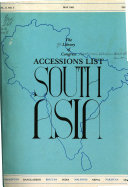 Accessions List South Asia