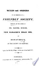Rules and Orders to be observed by a Friendly Society meeting at the house of Mr  S  Burges  the Saracen s Head Inn  at Dunstable  etc Book