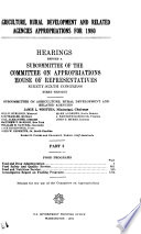 Agriculture, Rural Development, and Related Agencies Appropriations for 1980