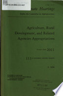 Agriculture  Rural Development  Food and Drug Administration  and Related Agencies Appropriations for Fiscal Year 2011 Book