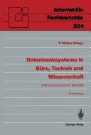 Datenbanksysteme in B  ro  Technik und Wissenschaft